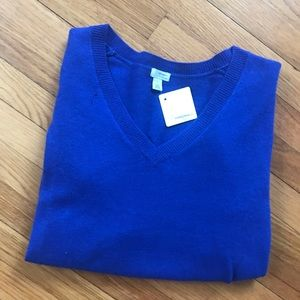 royal blue v neck cashmere sweater / never worn!